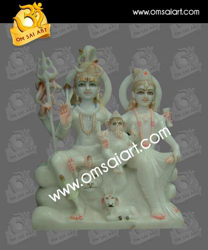 Marble Shiv Parwati Ganesha Statue