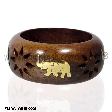 Wooden Bangle Brass Inlaid