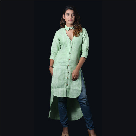 Linen Green Lining Long Shirt