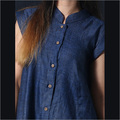 Linen Blue Self Print Tunic