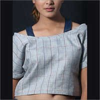Linen Grey Checks Crop Top
