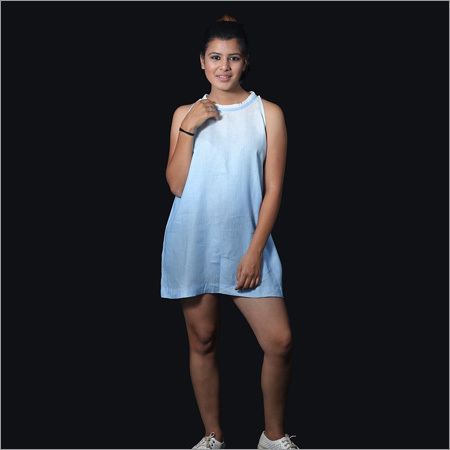 Linen Shaded White Blue Short Tunic