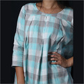 Linen Blue Grey Checks Box Pleat Tunic