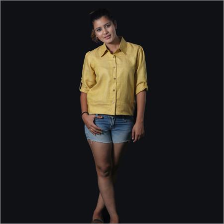 Linen Occur Yellow Short Shirt