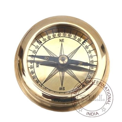 Brass Flat Pocket Compass
