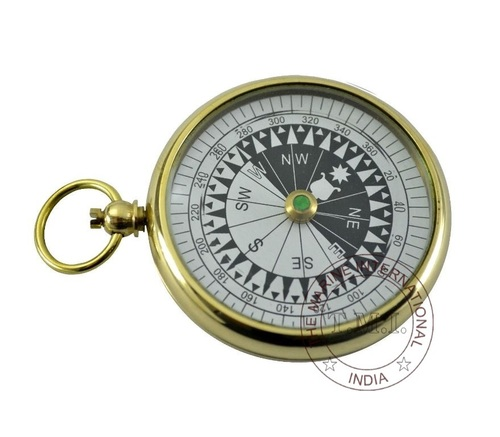Nautical Brass Flat Pocket Compass