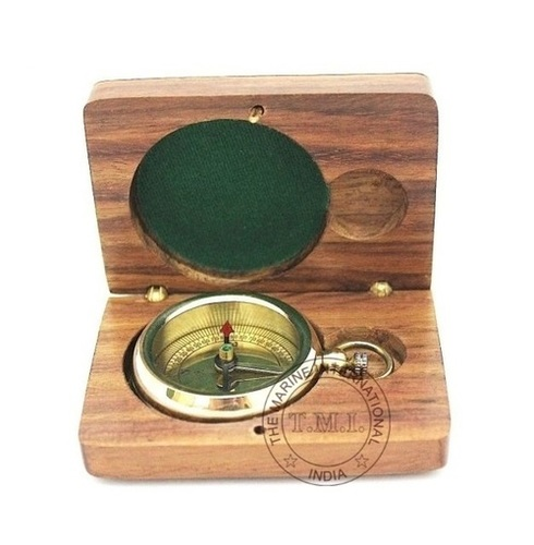 Brass Flat Compass With Box