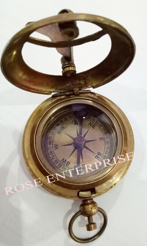Antique Nautical Push Button Pocket Compass