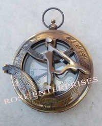 Antique Nautical Maritime Brass Push Button Pocket Sundial Compass