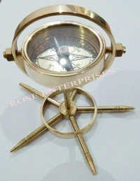 Brass Vintage Maritime Gimble Compass with wheel stand