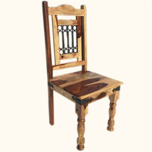 Brown Wooden Iron Grid Dining Chair