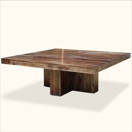 Square Pedestal Solid Wood Dining Table