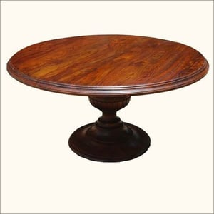 Solid Wood Rustic Handcrafted Round Dining Table Pedestal Base