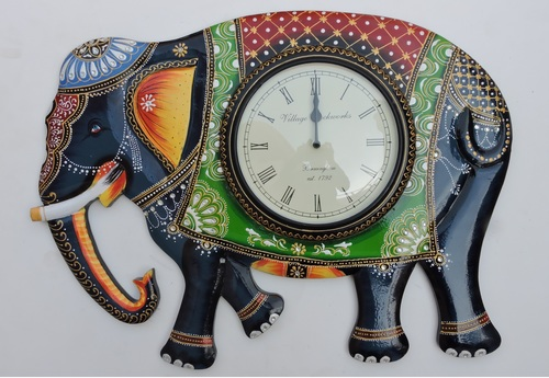 Hand Painted Elephant Design Wall Clocks