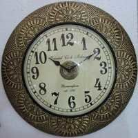 Metal Fitted Wooden Wall Clock