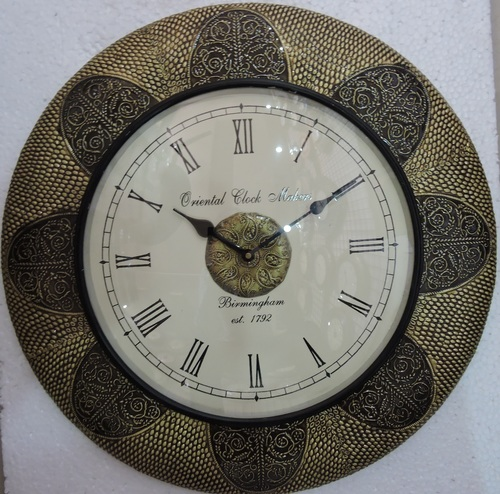 Brass Wooden Wall Clock