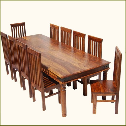 Rustic Large Dining Room Table & Chair Set
