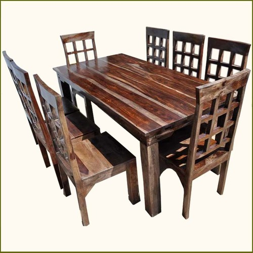 Square Box Rustic Furniture Dining Room Table & Chair Set