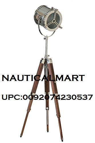 Vintage Industrial DESIGNER Chrome Nautical Search light Tripod Floor Lamp Home Decor