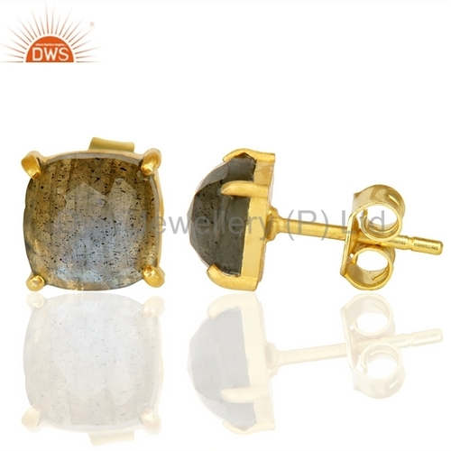Natural Gemstone 925 Silver Stud Earrings For Girls