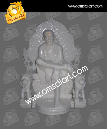 White Marble Sai Baba With Singhasan Statue