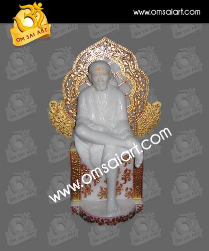 Stunning Design Singhasan Marble Sai Baba Statue