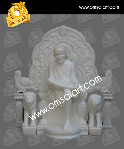 Marble Sai Baba Sitting Statue