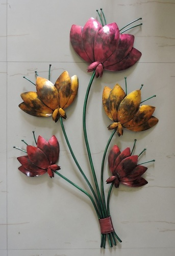 Metal Hand Painted Flower Wall Decor