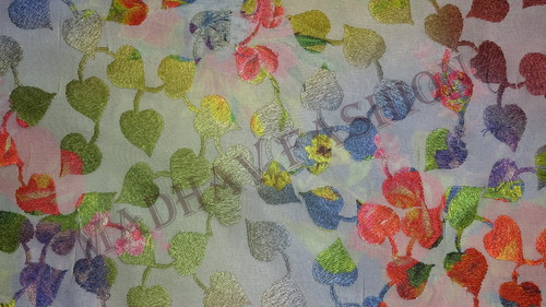 Multi Color Thread Work On Digital Printed Fabrics