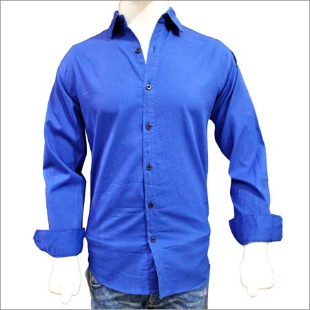 Solid Plain Cotton Blue Shirts