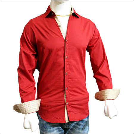 Mens Solid Plain Cotton Red Shirts