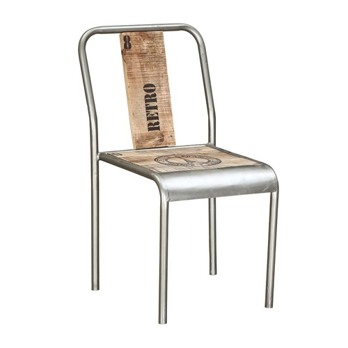 Silver Body Iron Frame Rough Wood Industrial Chair