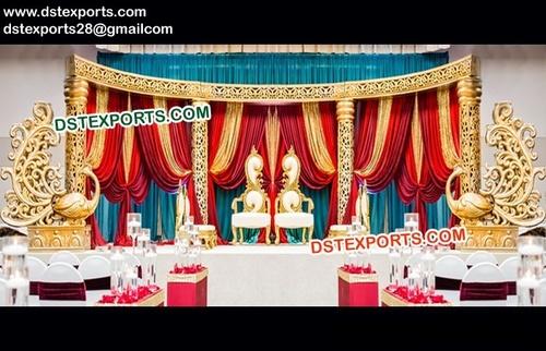 Peacock Theme Wedding Golden Stage
