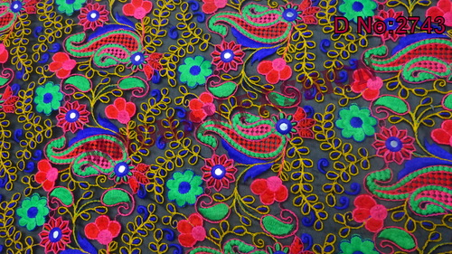 Multi Colored Embroidery Thread Work Fabric