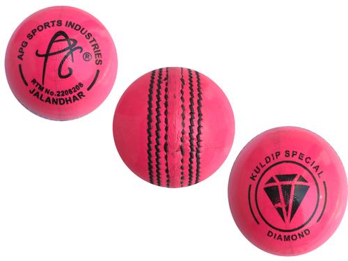 APG Pink Leather Cricket Ball (Kuldip Diamond)