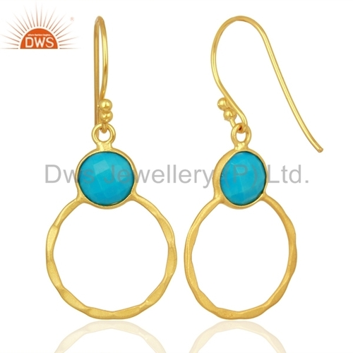 Handmade Round 925 Silver Gold Plated Earrings