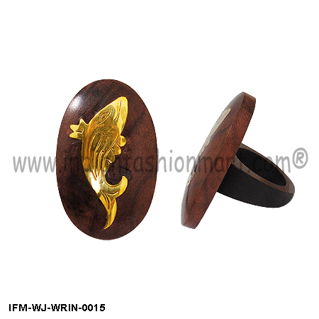 Golden Fins Wooden Ring