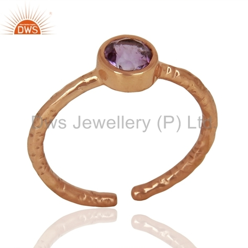 Natural Amethyst Birthstone Silver Ring Jewelry India