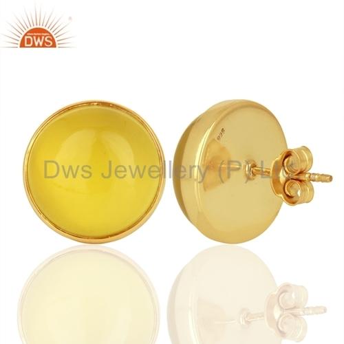 Yellow Onyx Gemstone Silver Stud Earrings Jewelry Jaipur