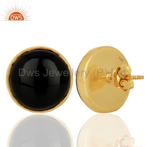 Black Onyx Gemstone Silver Stud Earrings Jewellery