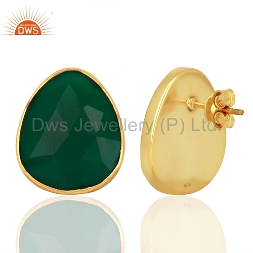 Green Onyx Gemstone 925 Silver Stud Earrings Jewellery India