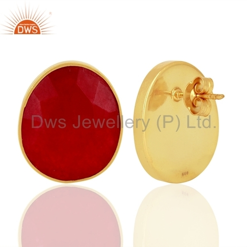 Red Gemstone 925 Silver Gold Plated Stud Earrings Jewelry