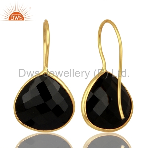 Black Onyx Gemstone 925 Silver Drop Earrings