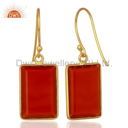 Red Onyx Gemstone 925 Silver Drop Earrings