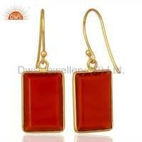Red Onyx Gemstone 925 Silver Drop Earrings