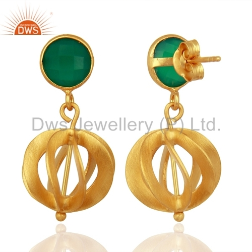 Green Onyx Gemstone 925 Silver Earrings Supplier