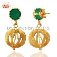 Green Onyx Gemstone 925 Silver Earrings Supplier