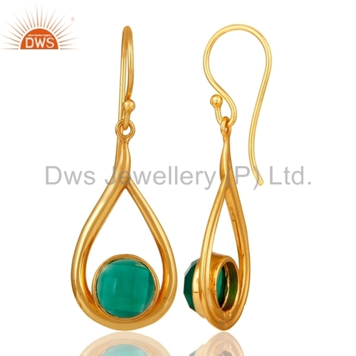 Gold Plated 925 Silver Gemstone Earrings Manufacturer Jaipur