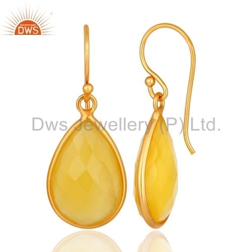 Handmade 925 Silver Gold Plated Gemstone Earrings