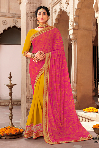 Heavy Border Bandhani saree